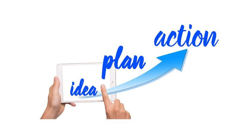 image: featured image with a finger swiping a phone with the words idea, plan, and action